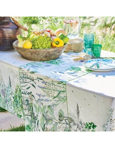 Chemin de table rectangulaire Jardin Aromatique floraison