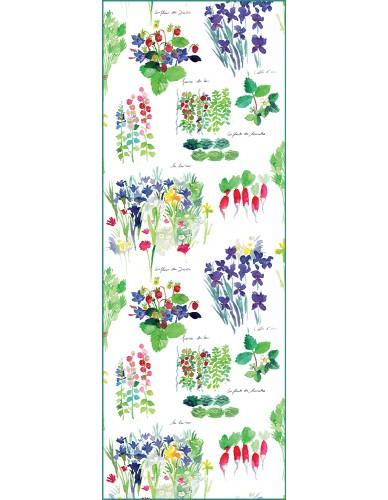 Chemin de table rectangulaire Mille Fraisiers printemps