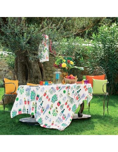 Nappe carrée/rectangulaire coton Mille Pépinières floraison