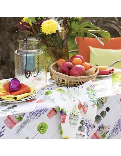 Chemin de table coton Mille Pépinières floraison