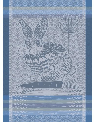 Torchon rectangulaire GARNIER-THIEBAUT Lapin design bleu