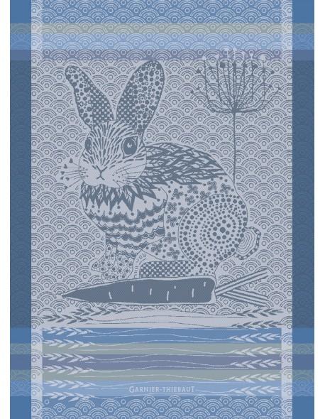 Torchon Lapin design bleu