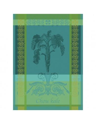 Torchon rectangulaire GARNIER-THIEBAUT Chou Kale bleu