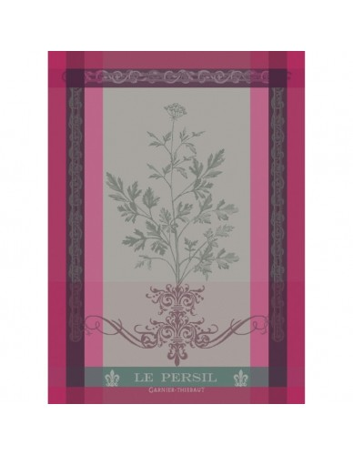 Torchon rectangulaire GARNIER-THIEBAUT Le Persil rose