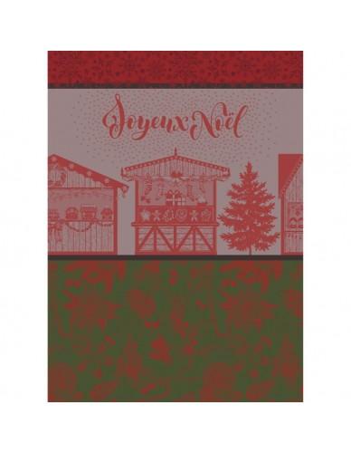 Torchon rectangulaire GARNIER-THIEBAUT  Marché de Noël rouge et vert