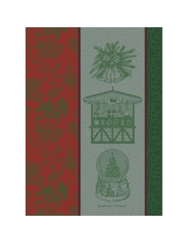 Torchon Souvenirs de Noël rouge et vert