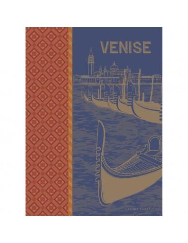 Torchon rectangulaire GARNIER-THIEBAUT Gondoles bleu roy
